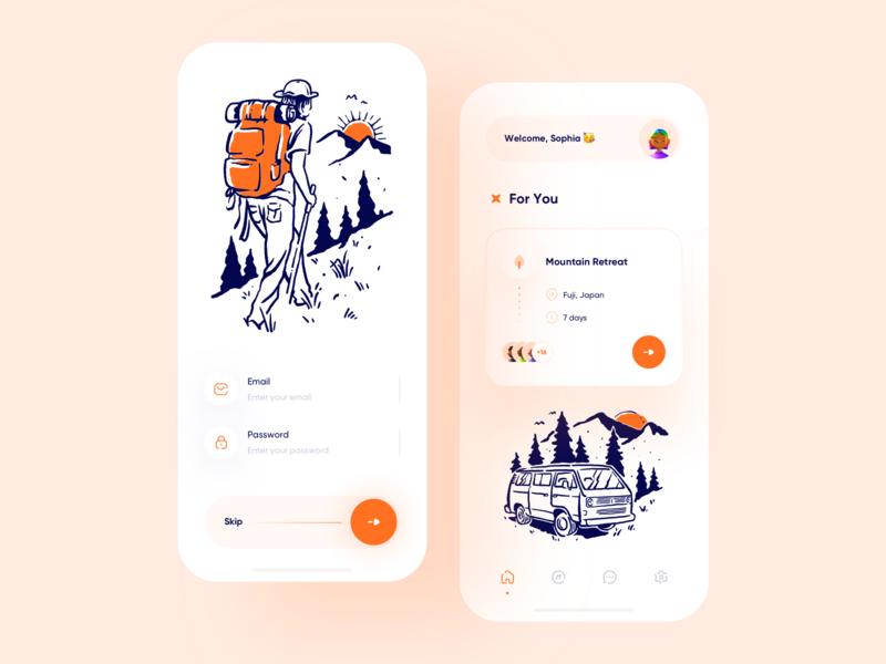 Tourism App Concept 🍃🌍 illustration sign in tourist location dribbble 3d trip tourism tour mobile design minimalism clean ui clean app ui uidesign app design app ui minimal