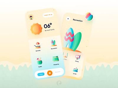 Beach Services App Concept ☀️ holyday sunny flat illustration service app services ski beach ball beach 3d mobile design minimalism clean ui clean app ui uidesign app design app ui minimal