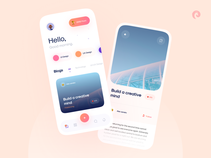 Blog reading app concept 📚 landing idea blogger freelance 3d blog design article blog ux mobile design minimalism uidesign clean ui clean app ui app design app ui minimal