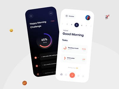 Productive App habit date splash graphics challenge todo calendar chart task productive web mobile app trend 3d mobile app ui app design minimal app ui