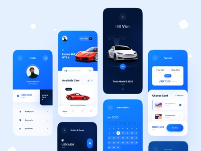 Carsy Ui Kit 😱 kit ui kit subscription wallet 360 view cards payment profile calendar rent car rental rent clean ui clean app ui minimal app design app ui