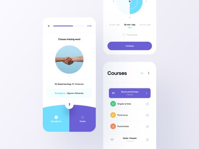 Language Learning App 🌍💡 language app lists learning english learning app lessons courses course language learning languages learning mobile app mobile minimalism clean ui clean app ui minimal app design app ui