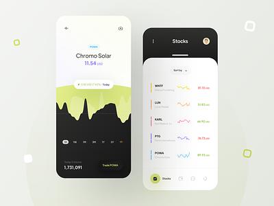 Investing app concept 🔋 bitcoin invest learn spend finance dark theme stocks chart solar uidesign minimalism clean ui clean minimal app ui app design app ui