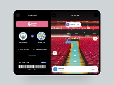 Football matches AR tickets concept | Tableta app ⚽️ teams stadium arena ipad app ipad tablet tablet app ar app ticket football mobile app mobile design clean ui clean minimal app ui app design app ui