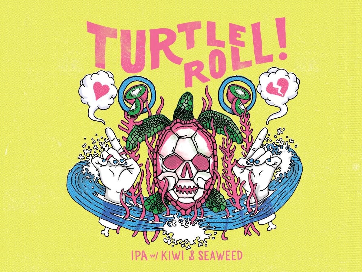 Turtle Roll flat island typography productdesign craft design branding beer beerlabels illustration