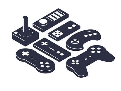 Isometric Controllers joystick icons set icons isometric illustration isometric videogames videogame video games game controller gaming controller super nintendo nintendo playstation sega genesis sega intellivision atari