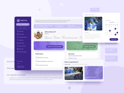 Web App Design for Fertility Benefits Platform fertility web  design web apps app ui design booking vector dailyinspiration dailyui webdesign web app purple app ui app design web app ux ui branding billieargent design