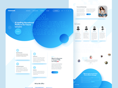 Website for the Educational Platform - Transcend uiux white and blue website design online platform ux design ui design platform design minimalistic web design website webdesign interface ux ui london typography vector graphicdesign billieargent design