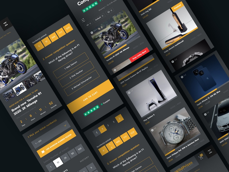 Wild Prizes website (mobile version) lottery betting bet web app icon typography interface london mobile app layout ux uiux uidesign mobile design