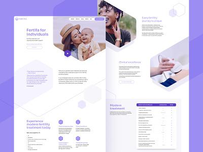 Fertifa Website Design website website design dailyui medical typography uiux web web design purple hexagons minimal ui ux app vector icon wireframe interface london design