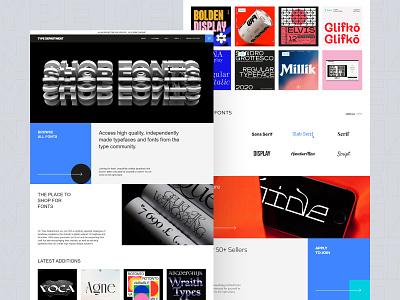 Design for font website Type shop fonts website design webdesign shop new card simple xd design uxui figma london type layout interface e-commerce elementor ux website font typography