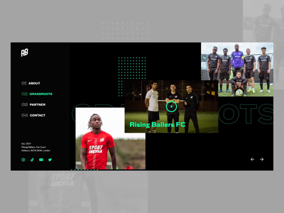 Rising Ballers Website for Football Academy elementor soccer football dailywebsite layout wireframe typography design ux interface webdesign london web horizontal scroll arrows icons simple modern uiux neon