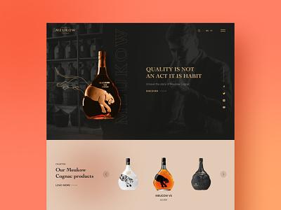 Website for Meukow Cognac🥃🍹 london modern wordpress elementor website interface wireframe frame layout blur uiux webdesign web dailysite siteoftheday ui brandy cognac typography design