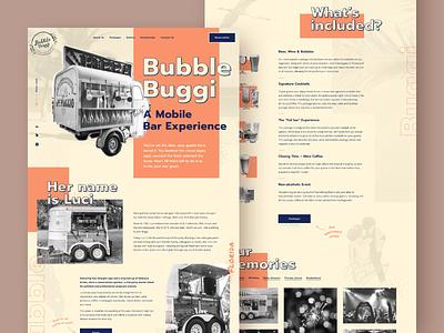 Mobile bar website 🍺🍷🍹🍸 wine portable bar mobilebar website concept bubblebuggi cocktail beer sparkling bubbles fancydrink bar desktop homepage uiux graphicdesign wordpresswebsite webdevelopment webdesign website billieargent