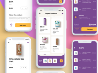 eCommerce App Design - UI food shopping ios ecommerce clean minimal cards cart payment app