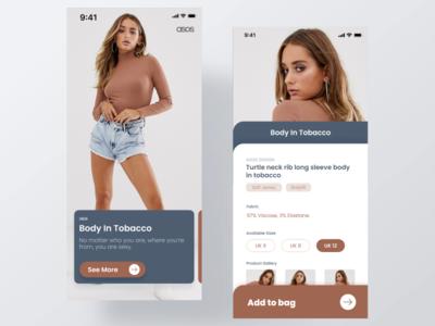 [ASOS] Fashion eCommerce App UI - Part 1 girl model cart trend trending 2019 google apple fashion freebie ui kit design ecommerce animation minimal ios ui app clean