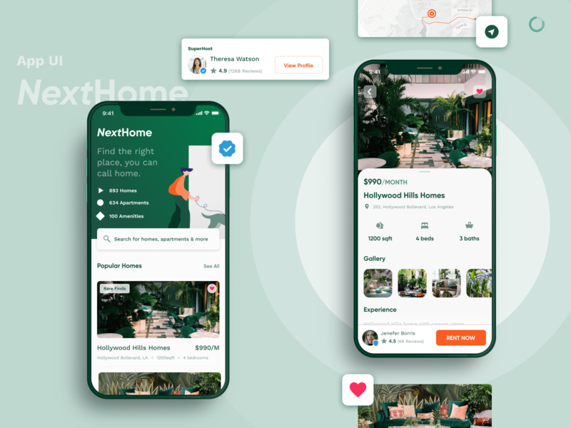 Real Estate Finder - Home, Apartment & Space Rent App UI iphone app nature search find real estate rent customer experience ux fresh invision figma trending design interaction dark ios minimal clean ui app