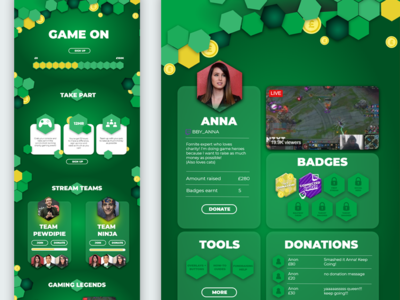 Charity gaming page template