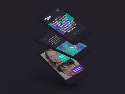 ADAPT Mobile Screens square grid video typography duotone purple turquoise dark mobile ui web adapt