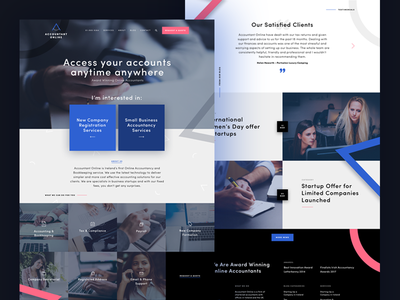 Accountant Online - Homepage typography photography blue pink brand ux ui website web digital online accountant