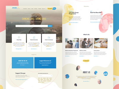 Aware Homepage pastel yellow blue pink shape warm charity blob light web ui aware