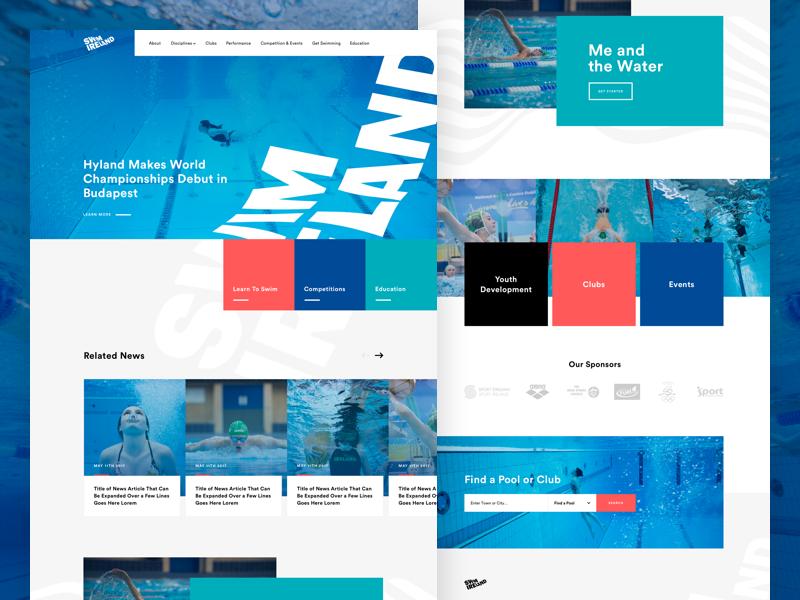 Swim Ireland Homepage ican web ui grid blue photography sport swimming ireland swim