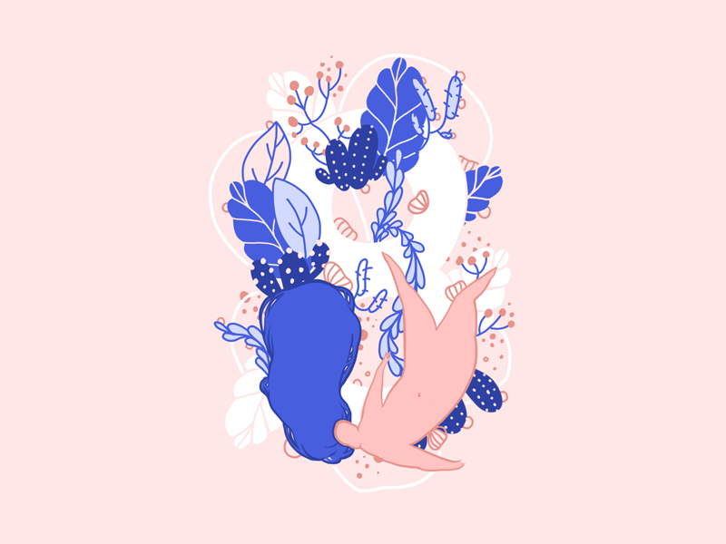 Freedom flowers body woman pastel type nature plants blue pink illustration float freedom