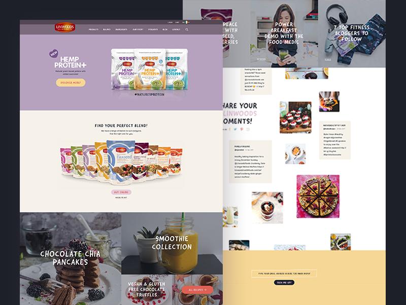 Linwoods Homepage landing ecommerce product recipe soft pastel web ui homepage food health linwoods