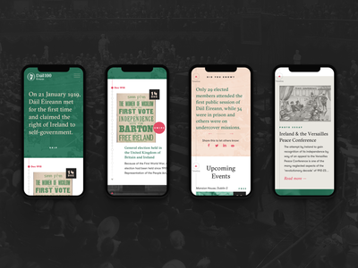 Dail100 Mobile - Homepage history political ireland content web colour peach green serif typography ux ui mobile dail100