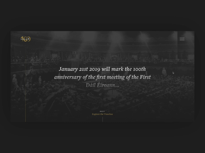 Dáil100 Dark Concept black  white photography historical elegant serif clean slick gold grey black dark ui dark mode history government website web ui dark