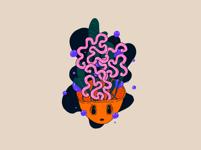 Inktober 2019 Day 02. Mindless character surreal bubbles brains pink purple orange illustration mindless inktober2019 inktober