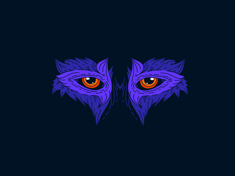Inktober Day 06. Husky black orange purple dark illustration eyes husky inktober2019 inktober