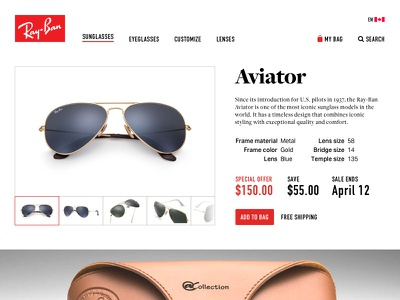 Special Offer • Daily UI 36 special offer aviator sunglasses ray-ban dailyui
