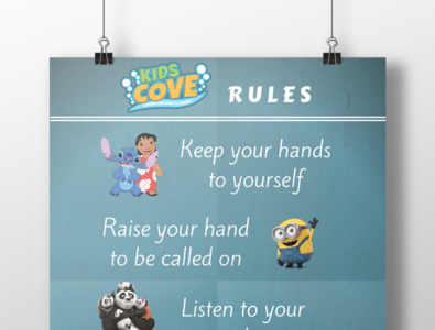 Kids Cove Rules poster