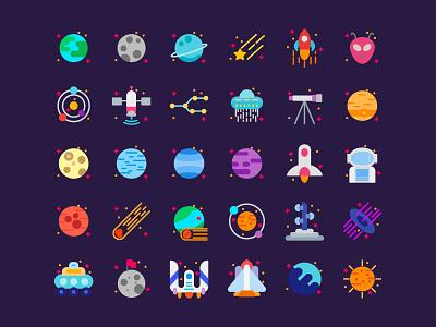Space Icons iconography typography icondesigner ux design vector icondesign icon app ui identity