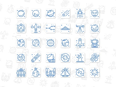 Space Icon Set  Line Style icondesign iconography mobile design branding animation ui vector illustration icon