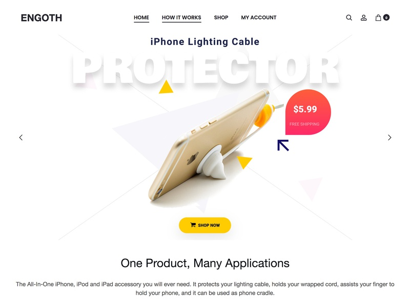 Ecommerce Website for a product company woocomerce ui bootstrap webdevelopment web design wordpress store lighting cable ipod ipad iphone blog landing page design ecommerce