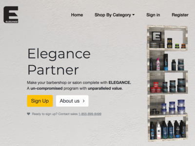 Landing page for beauty products