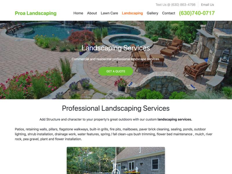 Landscaping Website Development lawn care landscaping landing page design bootstrap4 wordpress