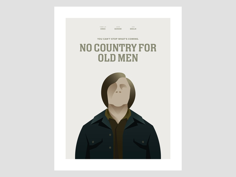 No Country For Old Men Poster vector illustrator poster design poster art poster a day movie poster minimal clean design flat illustration flat design adobe illustrator adobe indesign vector illustration minimalism typography design