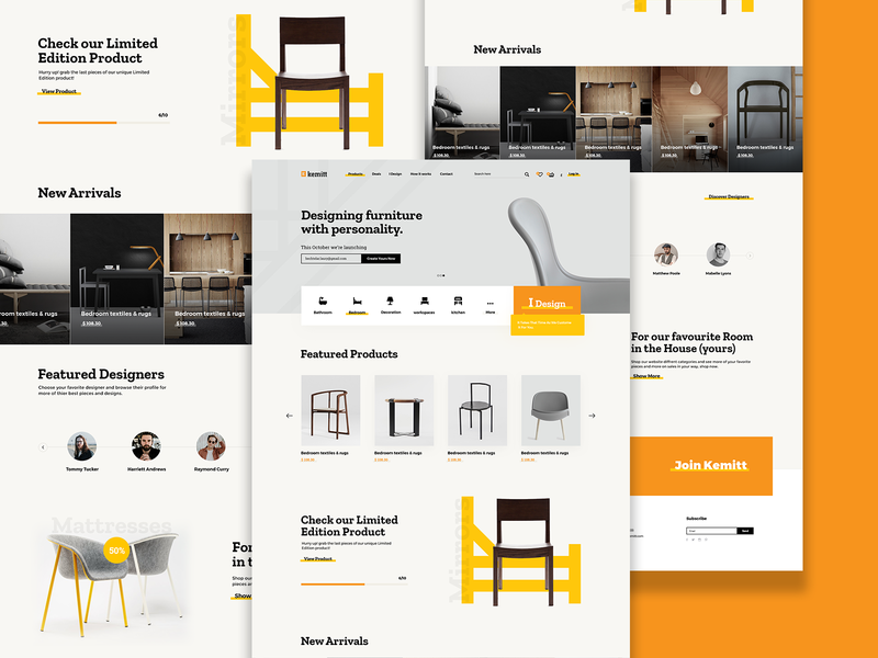 Kemitt yellow modern modern furniture furnitures pages branding interaction uidesign web uiux ui
