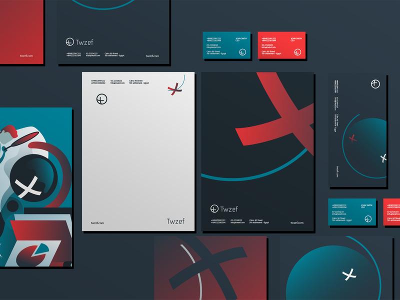 Twzef Branding graphic illustration recruitment platform identity branding brand business card stationery