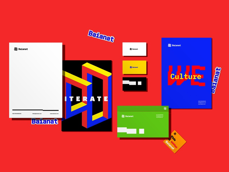 Baianat Brand Identity glitch isometric inspiration graphic design stationery collateral art direction baianat design brand identity branding brand