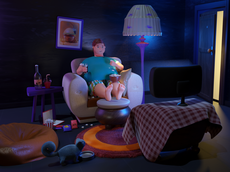 Tsro 3D Illustration lighting modelling pop corn cat night scne charachter design 3d illustration animation 3d illustrations pos tsro