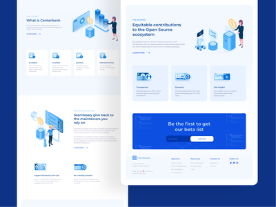 Open source supporter website cube blue open source isometric landing page website illustration