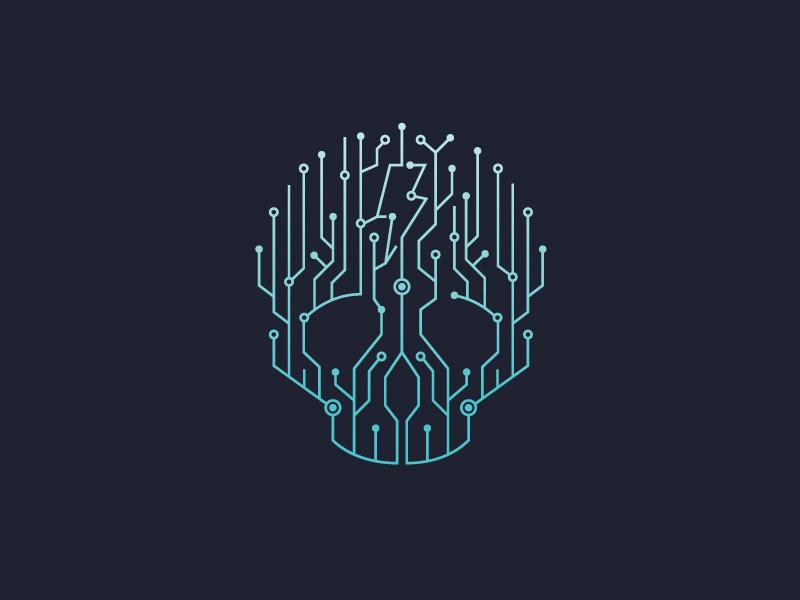 LazerTron logo secondary logo branding skull lightning circuit lazer vs the machines