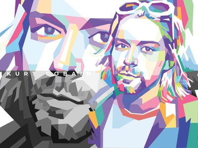 Kurt Cobain in wedha's pop art portrait style cobain kurt cobain design pop art illustration wpap
