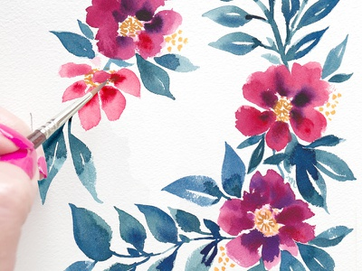 Cranberry Blooms flowers watercolor illustration floral