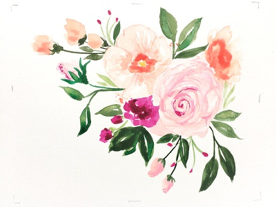Tussie-Mussie blooms floral flowers illustration. botanical watercolor