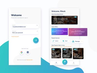 Salon app Login and Dashboard screen.